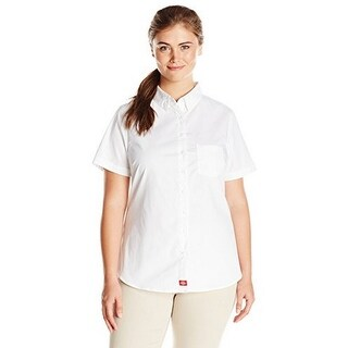 Dickies Womens Plus Size Short Sleeve Button Down Shirt, White, 1X