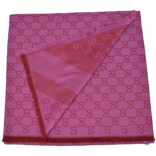 Gucci 281942 XL Wool Silk Pink Red GG Guccissima Logo Scarf Shawl Wrap
