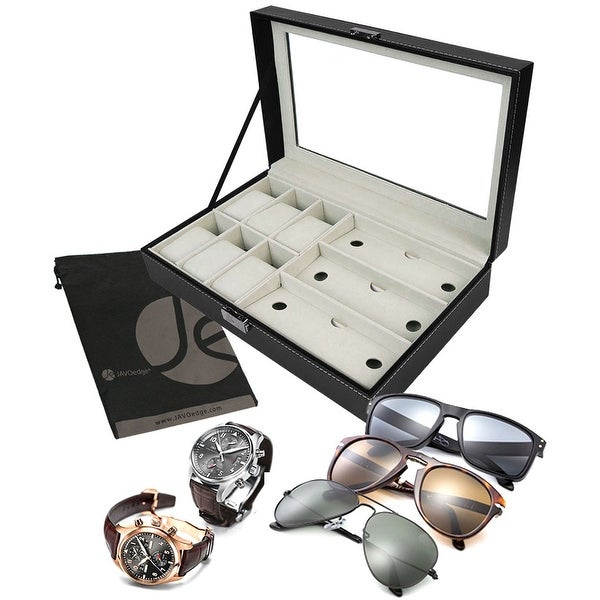 6 Slot Watches and 3 Slot Eyeglasses Holder Velvet Tray Glass Top Clear Display Organizer Case for Traveling or at Home - Black