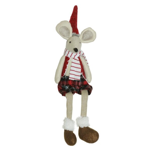 "17"" Plush Red Plaid Sitting Christmas Boy Mouse with Dangling Legs Decoration"