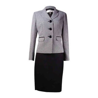 Le Suit Women's Prague Tweed Skirt Suit (2P, Black/White) - BLACK/WHITE - 2p