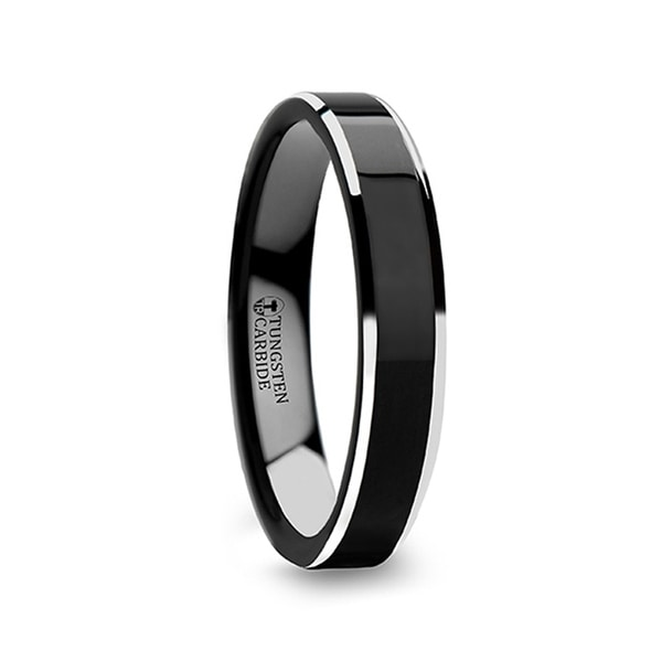 Valencia Womens Black Tungsten Ring With Polished Finish And White Tungsten Bevels