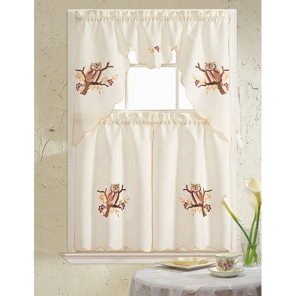 Owl Embroidered 3-Piece Kitchen Curtain Swag & Tiers Set, Beige-Yellow, 60x56 & 30x36 Inches - N/A