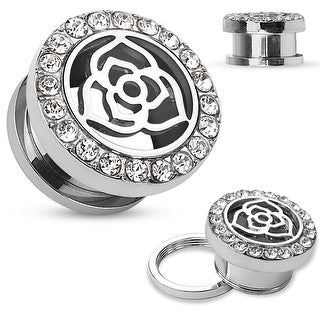 Crystal Pave Rim with Rose Center Top Surgical Steel Screw Fit Flesh Tunnel (Sold Ind.)