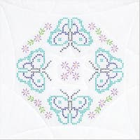 "Stamped White Quilt Blocks 18""X18"" 6/Pkg-Butterflies"