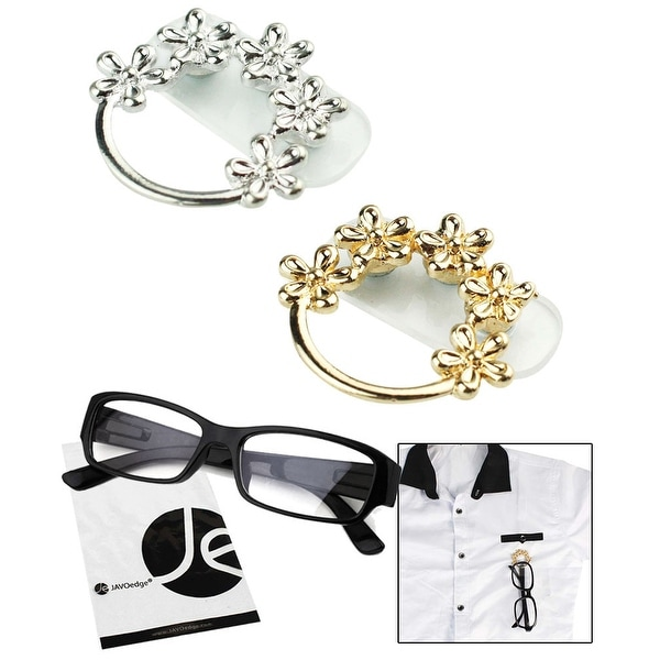 JAVOedge 2 Pack of Flower Brooch Eyeglass / Reading Glass Holder with Magnet (Gold and Silver) - Silver