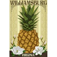 Williamsburg, VA - Colonial Pineapple - LP Artwork (100% Cotton Towel Absorbent)