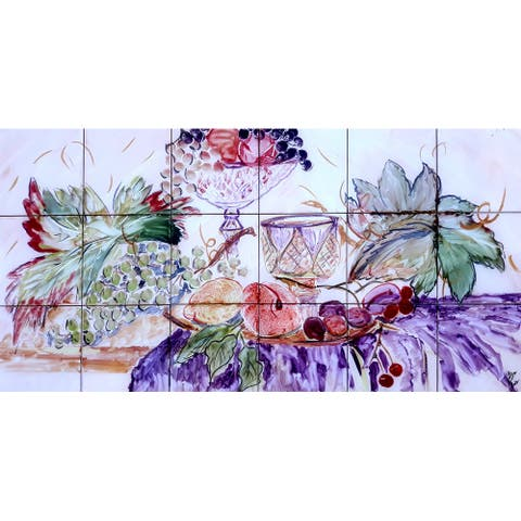 36in x 18in Kitchen Backsplash Mosaic 18pc Tile Ceramic Wall Mural