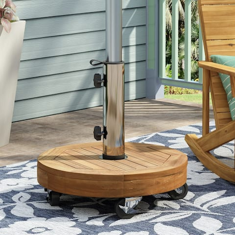 Ralph Outdoor Acacia Wood and Stainless Steel Outdoor 40lb Circular Umbrella Base by Christopher Knight Home