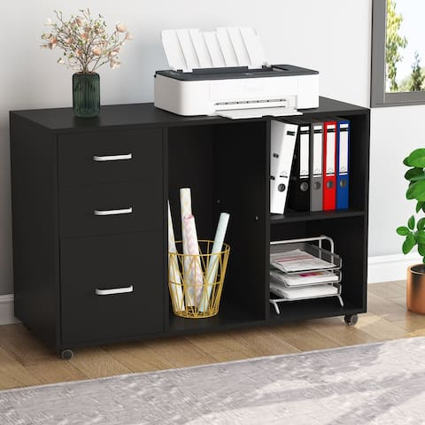3 Drawer File Cabinet Mobile Lateral Filing Cabinet Printer Stand with Wheels