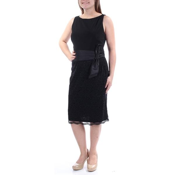 Shop American Living Womens Black Sleeveless Boat Neck Knee Length