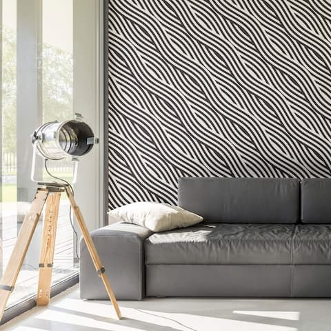 Black and White Striped Peel and Stick Removable Wallpaper 5638