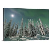 Premium Thick-Wrap Canvas entitled Northern lights and full moon, Nordoesterbotten, Suomi, Finland