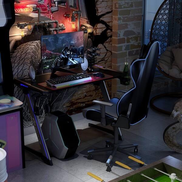 Shop Costway Z Shaped Gaming Computer Desk Rgb Led Lights W