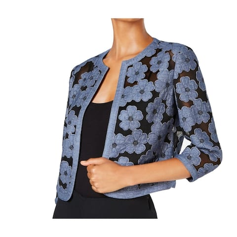 Anne Klein Women's Jacket Chambray Blue Size 14 Floral Mesh Open Front