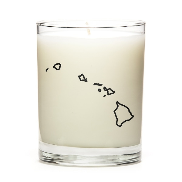 Custom Candles with the Map Outline Hawaii, Fine Bourbon