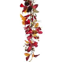 5' Artificial Autumn Foliage with Pine Cones and Pears Decorative Garland