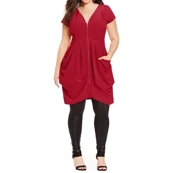 562a6ae9f99 Shop City Chic Womens Plus Tunic Dress Zip-Front Pleated - Free Shipping  Today - Overstock - 17099513