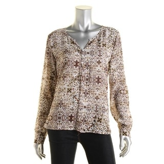Sanctuary Womens Printed Long Sleeves Blouse - XS
