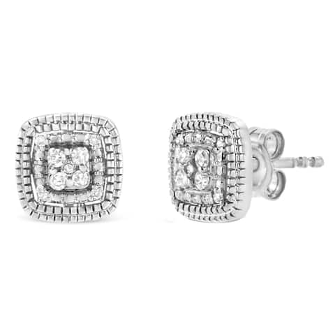 .925 Sterling Silver 1/10 Cttw Prong-Set Round Cut Diamond Halo Stud Earrings (I-J Color, I2-I3 Clarity) Choice of Metal Color