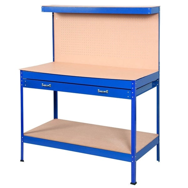 Blue Work Bench Tool Storage Steel Tool Workshop Table W/ Drawer and Peg Board