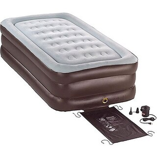 Coleman 2000010294 Twin Double High Airbed Inflatable Mattress w Pump - Tan