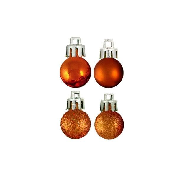 "18ct Burnt Orange 4-Finish Shatterproof Christmas Ball Ornaments 1.25"" (30mm)"