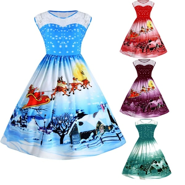 women christmas print lace pin up swing lace party panel plus size dress