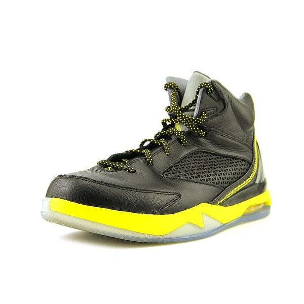 Jordan Flight Remix Men Round Toe Leather Black Basketball Shoe