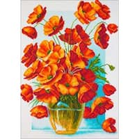 Poppies In Vase - Collection D'art Stamped Cross Stitch Kit 37X49cm