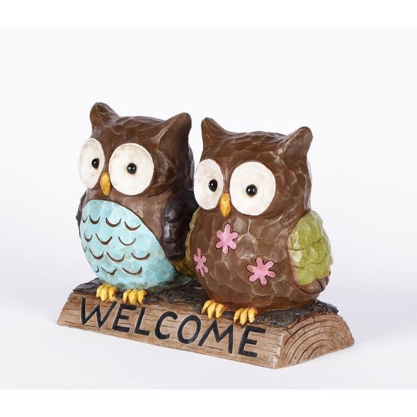 13 Owl Couple With Welcome Sign Garden Statue Overstock 29958220
