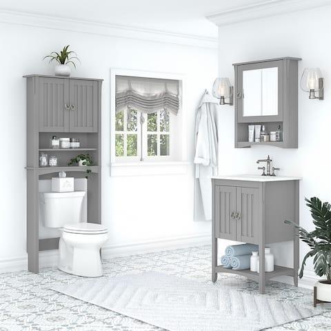 Salinas 24W Bathroom Vanity, Mirror and Space Saver by Bush Furniture
