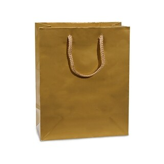"""Pack Of 100, Cub 8 X 4 X 10"""" Solid Gold Deluxe Gloss Color Laminated Paper Gift Bags"""
