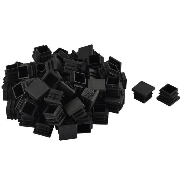 Furniture Table Chair Legs Plastic Square Tube Pipe Insert Cap Cover Black 19 x 19mm 70pcs