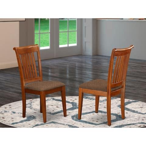 Portland Saddle Brown Slat Back Modern Dining Chairs Set of 2 (Chairs Option)