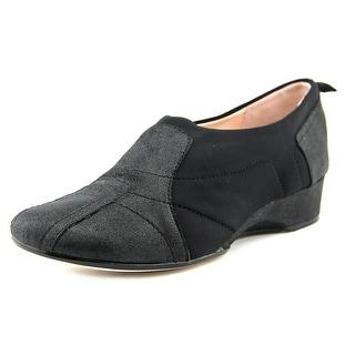 Taryn Rose Kuss Women Open Toe Leather Black Wedge Heel