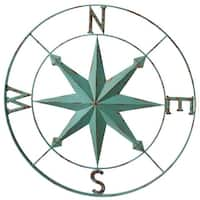 Set of 2 Blue Antique Style Distressed Metal Compass Wall Decor 30""