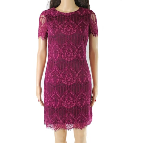 Kensie Women's Dress Magenta Purple Size 2 Sheath Lace Scoop Neck