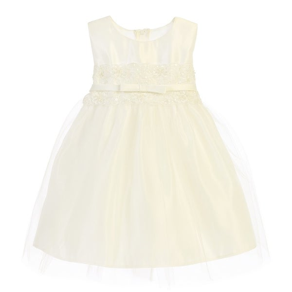 f095d6f43d3 Shop Sweet Kids Baby Girls Ivory Satin Lace Bow Tulle Flower Girl Dress 6- 24M - Free Shipping On Orders Over  45 - Overstock - 21157696