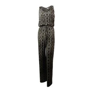 Calvin Klein Women's Sleeveless Snakeskin Print Jersey Jumpsuit - multi