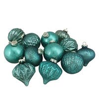 "12-Piece Green Assorted Distressed Finish Glass Ornament Set 3.25"" (80mm)"
