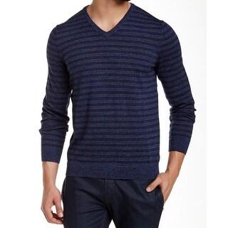 Calvin Klein NEW Blue Mens Size XL Stripe Knit V-Neck Wool Sweater