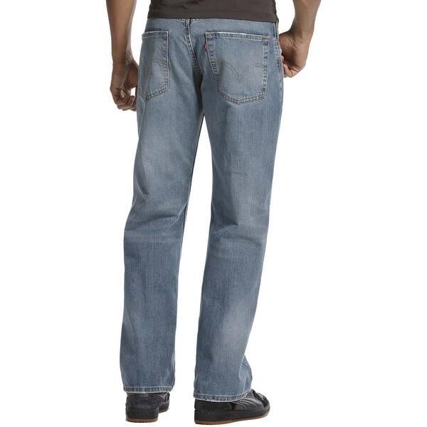 Rugged Blue Wash Straight Leg Jeans