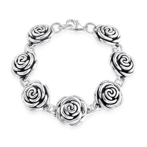 Black Antiqued Finish Roses Flowers Bracelet For Women For Girlfriend Hollow 925 Sterling Silver 7.5 Inch