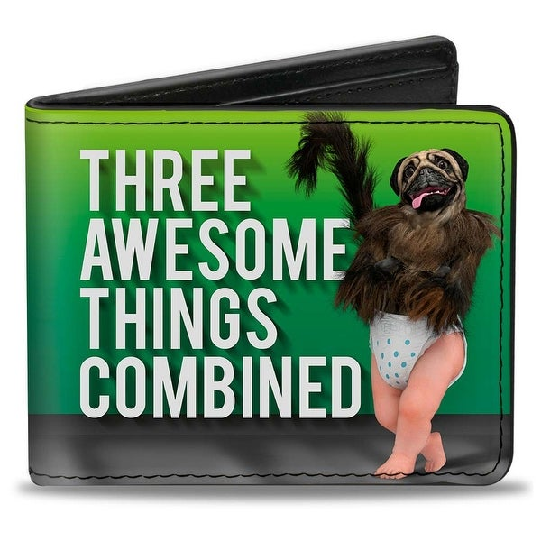Puppymonkeybaby Pose Three Awesome Things Combined + #Puppymonkeybaby Green Bi-Fold Wallet - One Size Fits most