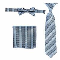 Boys Sky Blue Plaid Striped Tie Bow Tie Pocket Square 3 Pc Accessory Set