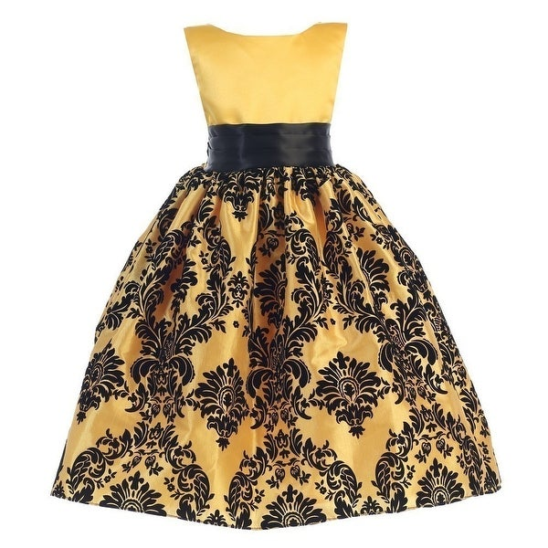 0f0e99820ce4c Shop Little Girls Yellow Black Damask Satin Sleeveless Special Occasion  Dress - Free Shipping On Orders Over  45 - Overstock - 18166916