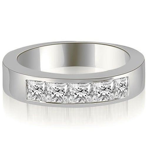 0.70 cttw. 14K White Gold Princess Diamond 5-Stone Channel Wedding Band