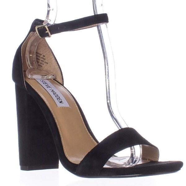 Steve Madden Carrson Ankle Strap Dress Sandals, Black Suede