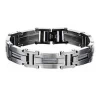 Inox Mens Stainless Steel Link Bracelet 8 inch long + 1 Self- Adjustable Link